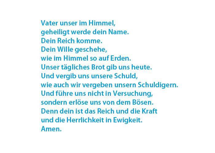 Vaterunser auf Deutsch/Lord's prayer in German (Photo: EMS)